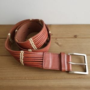 Talbots Brown Leather Woven Belt Silver Buckle